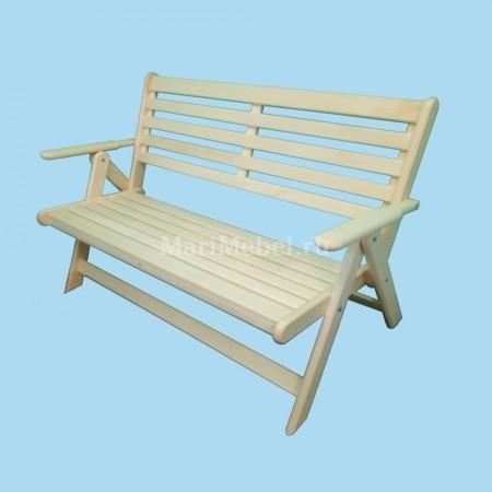 Скамья деревянная с подлокотниками раскладная