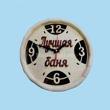 Часы деревянные «Бочка» Лучшая баня